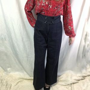 Worthington High Rise Wide Leg Pleated Denim Pants